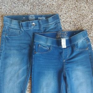 2 pairs of Jean Jeggings. Justice & SO brand
